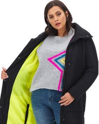 Simply Be Longline Puffer With Contrast Lining - Black