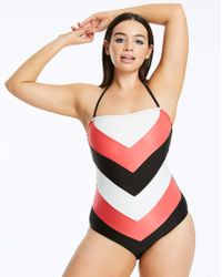 78d4c63fd1cea TOPSHOP Red and Pink Colour Block Swimsuit in Pink - Lyst