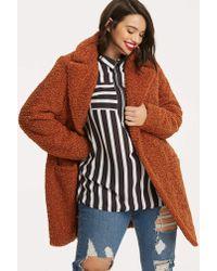 Simply Be - Spiced Orange Teddy Fur Coat - Lyst