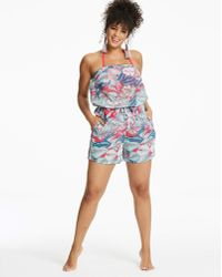 Simply Yours - Palm Print Beach Playsuit - Lyst