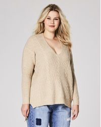 Simply Be - Lace-up Cable Sweater - Lyst