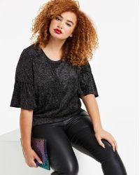 ee6b947c54117 Glamorous Deep V-neck Glitter Top Black Glitter Spot Mesh in Black ...