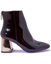 Simply Be - Contrast Heel Patent Boots Standard Fit - Lyst
