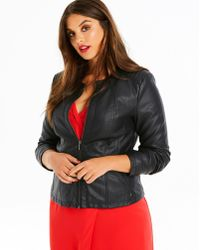 Simply Be - Oasis Curve Faux Leather Collarless Stitch Jacket - Lyst
