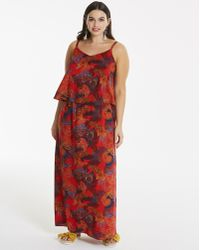 Simply Be - Printed Layer Maxi Dress - Lyst