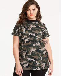 Simply Be Camouflage Print High Neck T-shirt