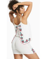Simply Yours - Cream Split Back Playsuit - Lyst