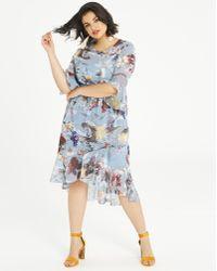 Simply Be - Little Mistress Floral Dip Hem Dress - Lyst