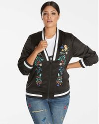 Simply Be - Embroidered Deep V Bomber - Lyst
