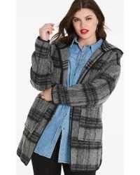 Simply Be - Hooded Check Wool Look Coat - Lyst