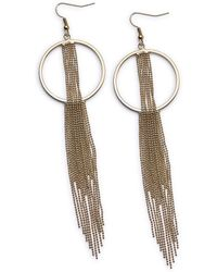 Simply Be - Silver Circle And Tassel Drop Earrings - Lyst