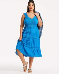 Anthology - Crinkle Fit And Flare Dress - Lyst