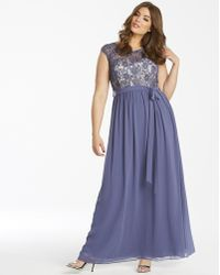 aaf036b4d00 Lyst - Alex Evenings Long A-line Dress With Modifie in Gray