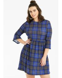 a4a176c1f31 Lacoste Tartan Check Print Wool Jacquard Belted Sweater Dress in Red ...