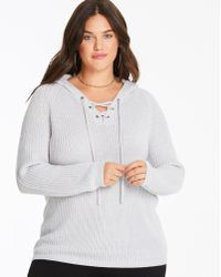 Simply Be - Hooded Sporty Sweater - Lyst