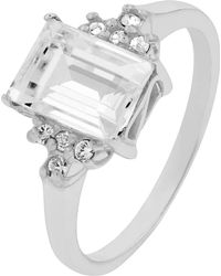 Accessorize - Sterling Silver Emerald Cut Ring With Swarovski® Crystals - Lyst