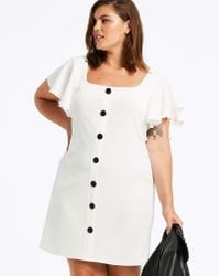 Simply Be - Ivory Frill Sleeve Button Front Dress - Lyst
