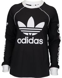 c508a54fa40f46 Lyst - adidas Originals Turtleneck Long Sleeve Crop Top (black ...