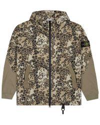 Stone Island - Zip Up Hooded Sweatshirt - Lyst