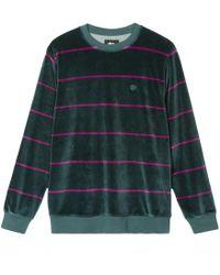 Stussy - Striped Velour Crewneck Sweatshirt - Lyst