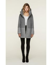 SOIA & KYO - Soia&kyo - Avery Mixed Media Mid Length Coat With Hood - Lyst