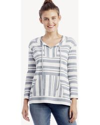 Vince Camuto - Ls Variegated Stripe Drawstring Pullover - Lyst
