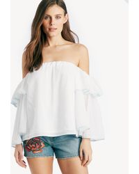 1.STATE - Off Shoulder Bell Sleeve Tipped Blouse - Lyst