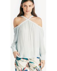 1.STATE - High Neck Cold Shoulder Blouson Blouse - Lyst
