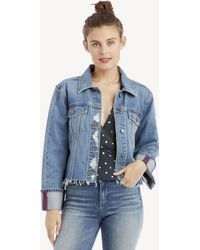 Vince Camuto - Classic Cuff Bell Sleeve Fray Hem Jean Jacket - Lyst