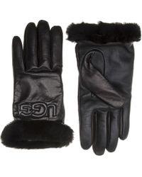 UGG - Leather Logo Gloves - Lyst