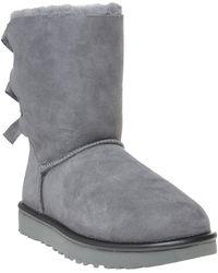 4797496c697 UGG Sheepskin Bailey Knit Bow Boots - Grey in Gray - Lyst