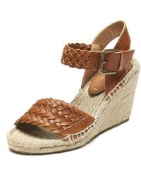 bcd5d7fdfed Soludos - Woven Leather Open Toe Wedge Sandal - Lyst