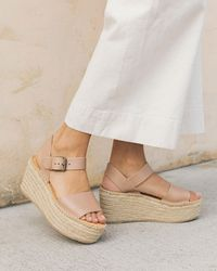 77c1d6373a9 Soludos Chantilly Lace Tall Wedge in Natural - Lyst