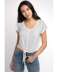 South Moon Under - Tie Front Burn Out Short Sleeve Tee - Lyst