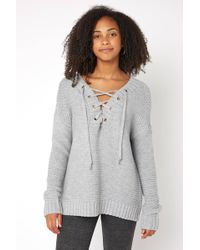 South Moon Under - Lace Up Tunic Sweater - Lyst