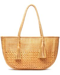 South Moon Under - Woven Leather Tassel Tote Bag - Lyst