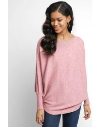 South Moon Under - Karisma Bat Wing Marled Boat Neck Wedge Pullover - Lyst