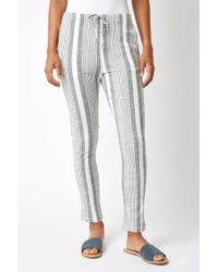 South Moon Under - Striped Linen Tapered Leg Pants - Lyst