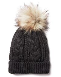 South Moon Under - Cable Knit Sherpa Lined Pom Beanie - Lyst