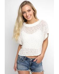 South Moon Under - Short Sleeve Back Lace Sweater Top - Lyst