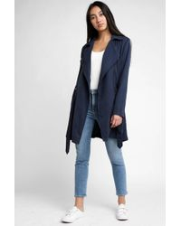 Blank NYC - Navy Trench Coat With Belt - Lyst