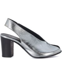Lemarè - Silver Leather Heeled Sandal Women's Sandals In Silver - Lyst