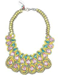 Sveva Collection - Collana Rigida Pietre E Tessuto Giallo Women's Necklace In Yellow - Lyst