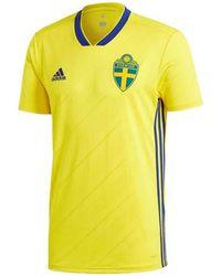 164de187c62 adidas - 2018-2019 Sweden Home Football Shirt Men s T Shirt In Yellow - Lyst