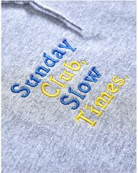 The Idle Man - Sunday Club Slow Times Embroidery Hoodie Grey Men's Jumper In Grey - Lyst