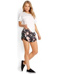 Seafolly - , Bali Hai Fitness Shorts - Black Flower Print Women's Tights In Multicolour - Lyst