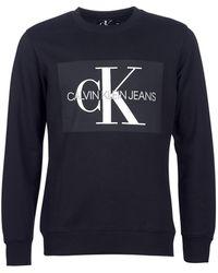 Calvin Klein - CORE MONOGRAM LOGO SWEATSHIRT hommes Sweat-shirt en Noir - Lyst