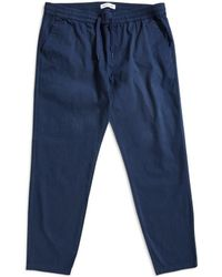 The Idle Man - Cropped Elasticated Waist Trousers Navy Men's Trousers In Blue - Lyst