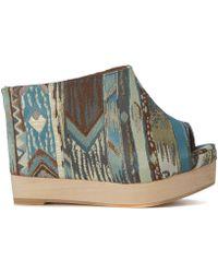 Jeffrey Campbell - Virgo Damask Green And Light-blue Fabric Sabot Women's Sandals In Multicolour - Lyst