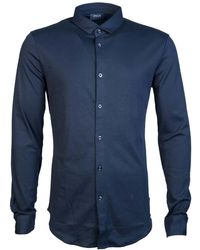 Armani Jeans - Shirt 6y6c86 6jprz Men's Long Sleeved Shirt In Blue - Lyst